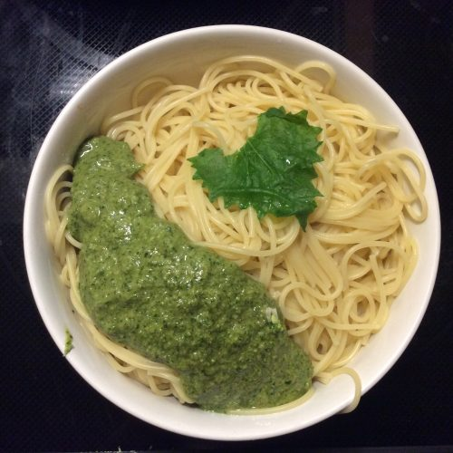 Spring Weed Queen's Garlic Mustard Pesto in Bowl Presentation